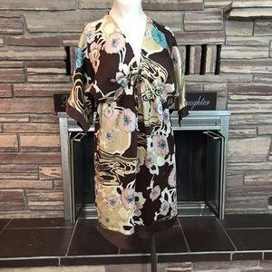 Brown silk floral kimono style dress Yumi Kim M